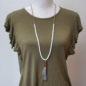 Tassel Pendant Long Necklace White crystal